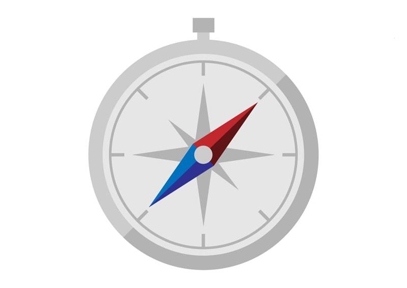 Kompas - severný pól (strelka) ukazuje na sever