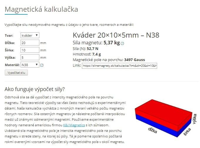 Magnetická kalkulačka eshopu SilneMagnety.sk